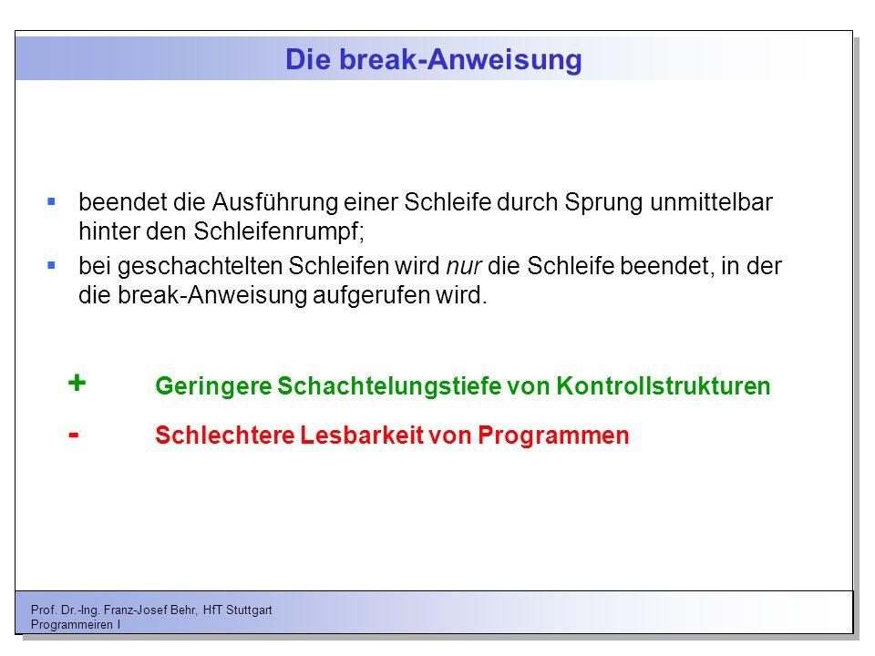 Prof. Dr.-Ing. Franz-Josef Behr, HfT Stuttgart Programmeiren I Die break-Anweisung beendet die Ausführung einer Schleife durch Sprung unmittelbar hint