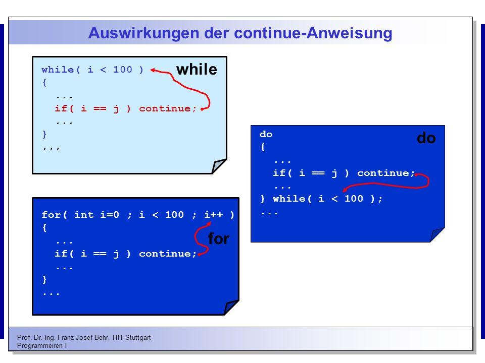 Prof. Dr.-Ing. Franz-Josef Behr, HfT Stuttgart Programmeiren I Auswirkungen der continue-Anweisung while( i < 100 ) {... if( i == j ) continue;... }..
