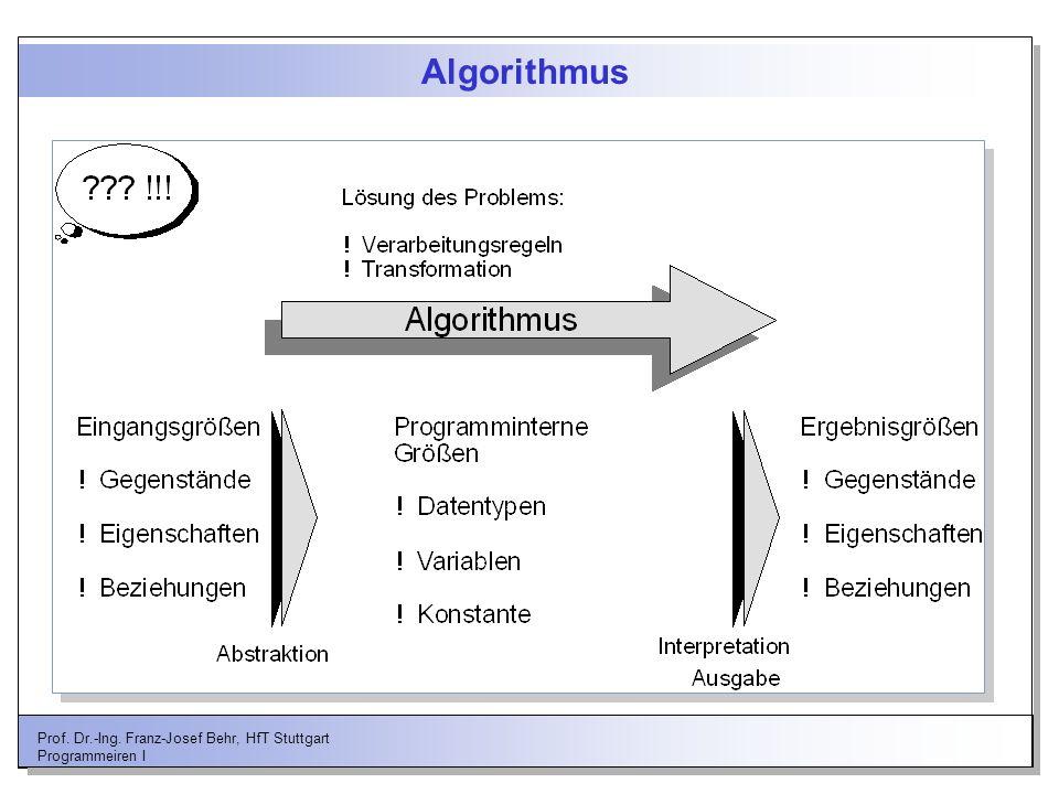 Prof. Dr.-Ing. Franz-Josef Behr, HfT Stuttgart Programmeiren I Algorithmus