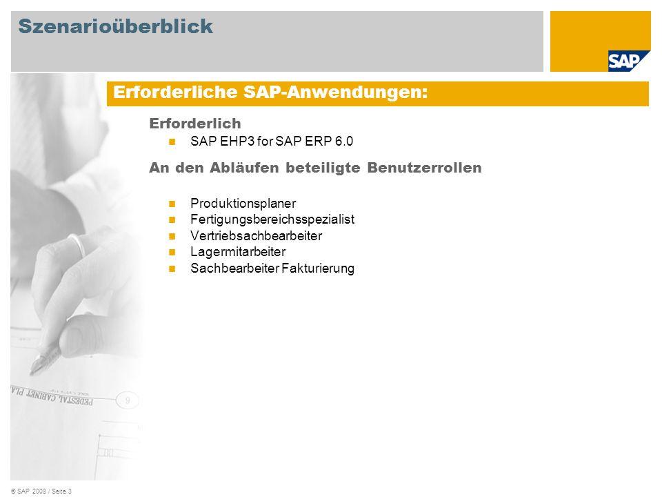 © SAP 2008 / Seite 3 Erforderlich SAP EHP3 for SAP ERP 6.0 An den Abläufen beteiligte Benutzerrollen Produktionsplaner Fertigungsbereichsspezialist Ve