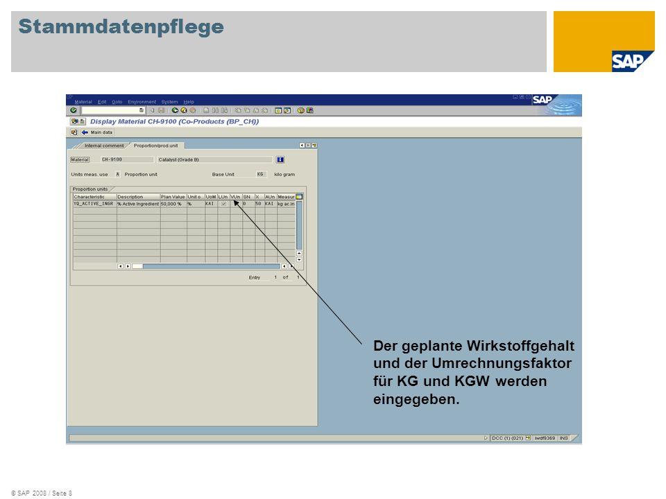 © SAP 2008 / Seite 8 Stammdatenpflege Der geplante Wirkstoffgehalt und der Umrechnungsfaktor für KG und KGW werden eingegeben.