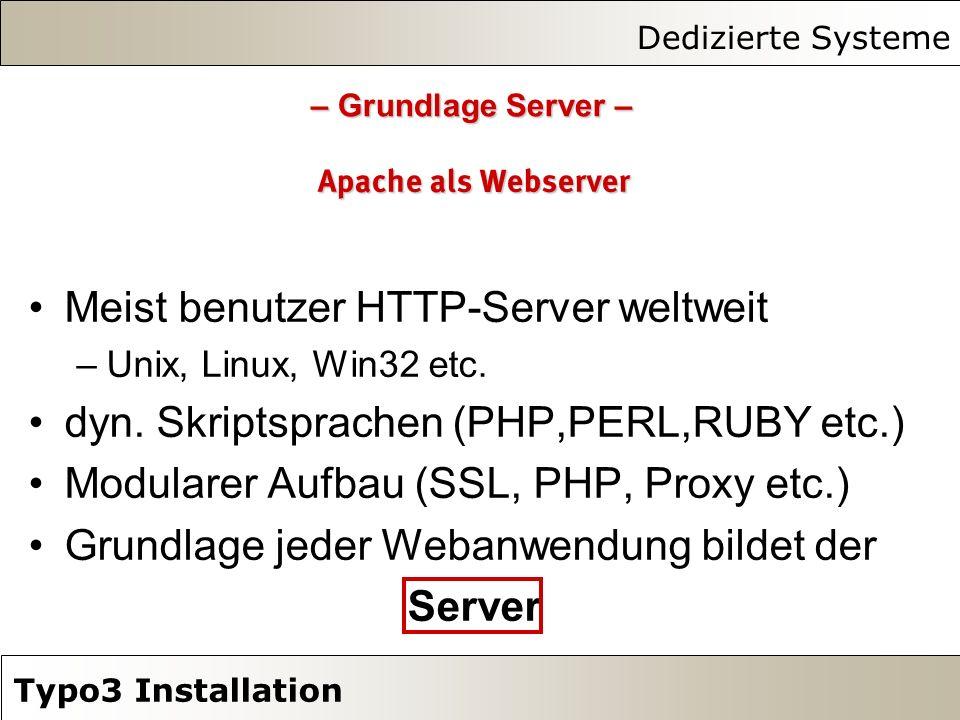 Dedizierte Systeme Typo3 Installation Apache als Webserver Meist benutzer HTTP-Server weltweit –Unix, Linux, Win32 etc. dyn. Skriptsprachen (PHP,PERL,