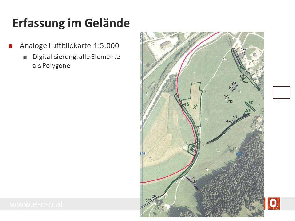 www.e-c-o.at Erfassung im Gelände Analoge Luftbildkarte 1:5.000 Digitalisierung: alle Elemente als Polygone