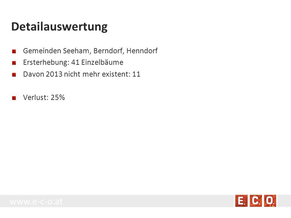 Detailauswertung Gemeinden Seeham, Berndorf, Henndorf Ersterhebung: 41 Einzelbäume Davon 2013 nicht mehr existent: 11 Verlust: 25%