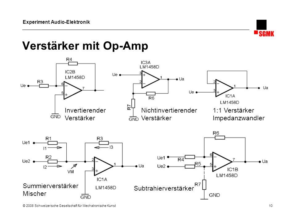 Experiment Audio-Elektronik © 2008 Schweizerische Gesellschaft für Mechatronische Kunst 10 Verstärker mit Op-Amp Invertierender Verstärker Nichtinvert