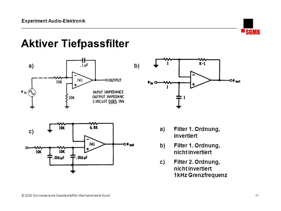 Experiment Audio-Elektronik © 2008 Schweizerische Gesellschaft für Mechatronische Kunst 11 Aktiver Tiefpassfilter a)Filter 1. Ordnung, invertiert b)Fi