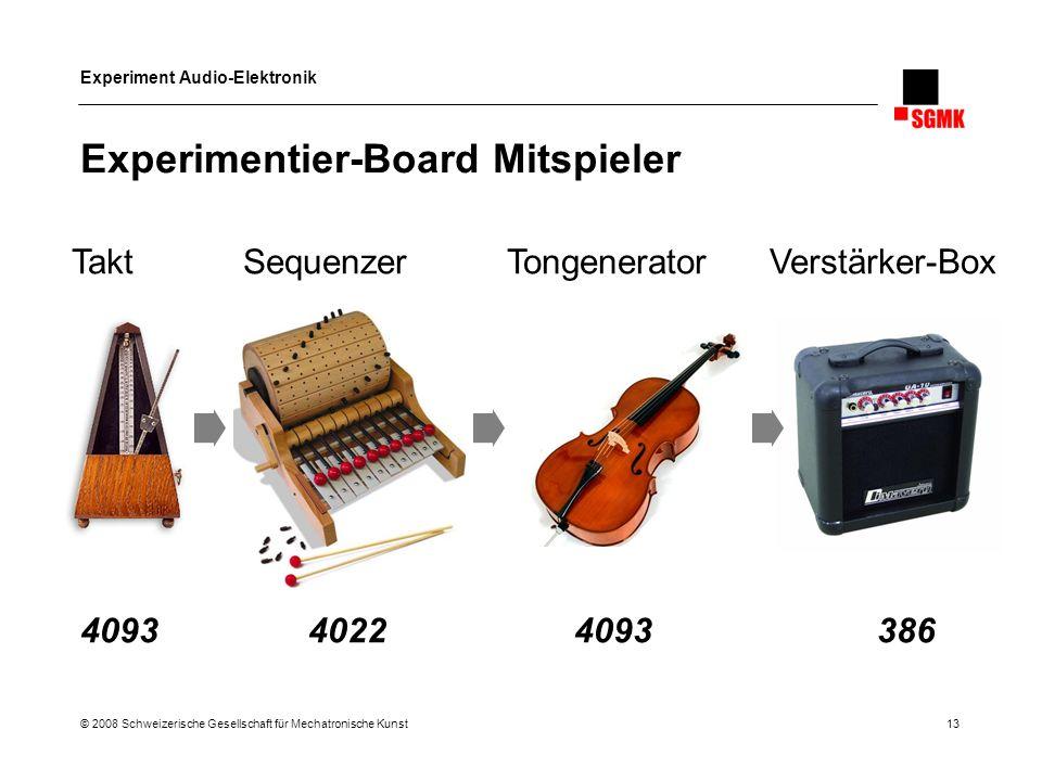 Experiment Audio-Elektronik © 2008 Schweizerische Gesellschaft für Mechatronische Kunst 13 Experimentier-Board Mitspieler 4093 4022 4093 386 Takt Sequ