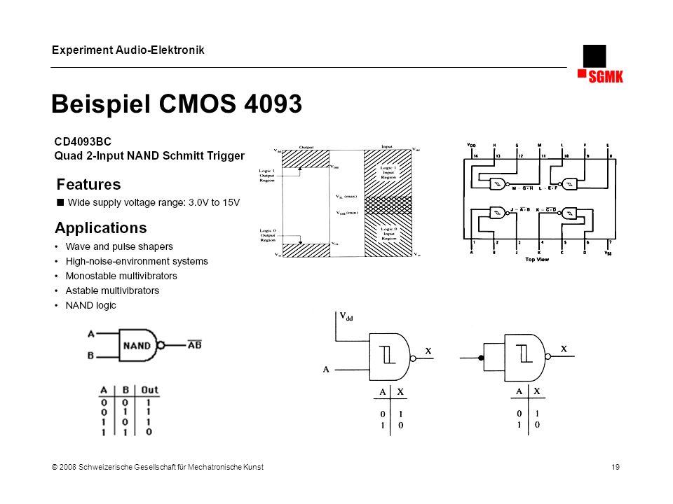 Experiment Audio-Elektronik © 2008 Schweizerische Gesellschaft für Mechatronische Kunst 19 Beispiel CMOS 4093