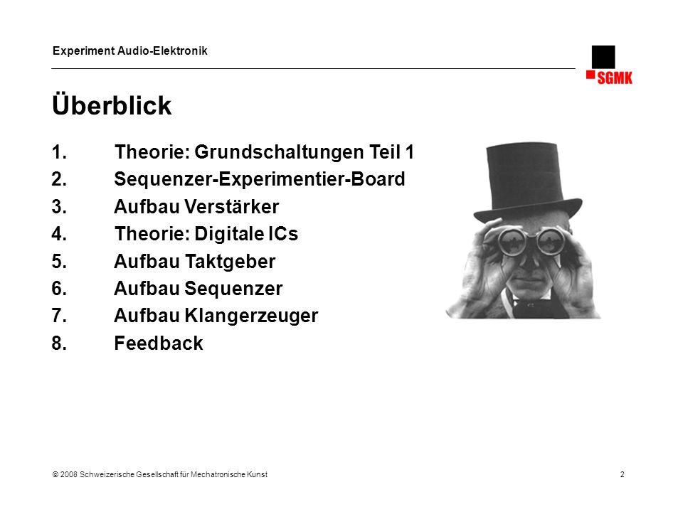 Experiment Audio-Elektronik © 2008 Schweizerische Gesellschaft für Mechatronische Kunst 3 Grundschaltungen Teil 1 1.Spannungsteiler 2.RC-Frequenzglieder 3.Gleichrichter 4.Verstärker mit Op-Amp 5.Aktive Filter 6.Frequenzweichen