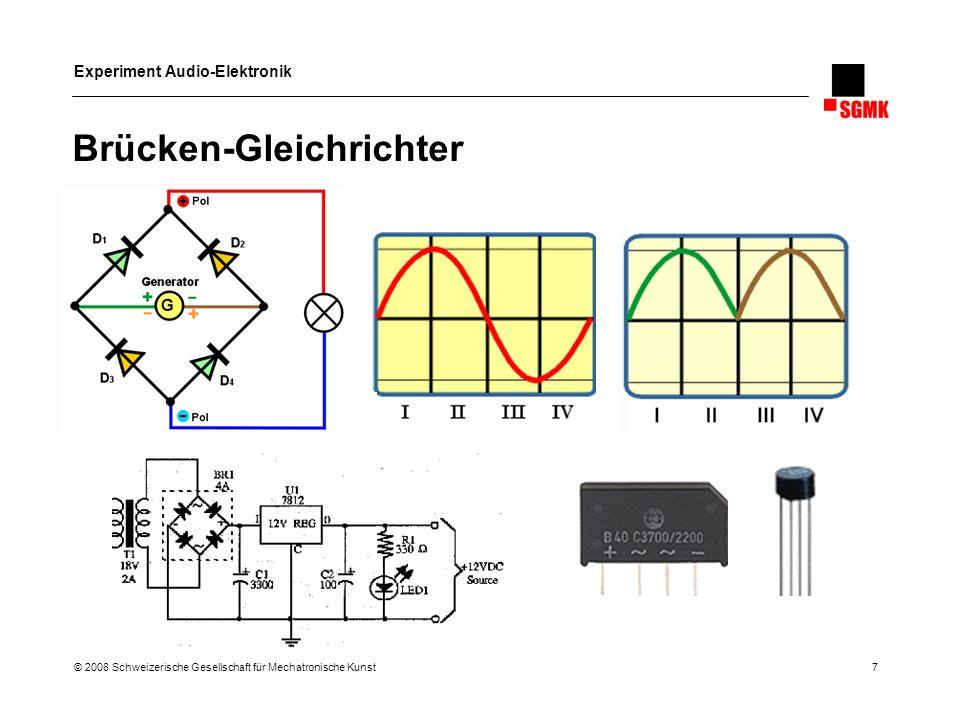 Experiment Audio-Elektronik © 2008 Schweizerische Gesellschaft für Mechatronische Kunst 18 Digitale ICs Familien TTL und CMOS Unterschied: Betriebsspannung und Spannungen für High/Low Betriebsspannung: TTL 5 V, CMOS 3-15 Volt Digital to Analog Einige ICs lassen sich für Audioanwendungen zweckentfremden Inverter werden zu LoFi PreAmps und Verzerrern (4046) Schmitt Inverter oder Schmitt Trigger zu Oszillatoren (40106, 4093) Zähler zu Sequenzern (4017, 4022) Binärzähler zu Sub-Oszillatoren (4040)