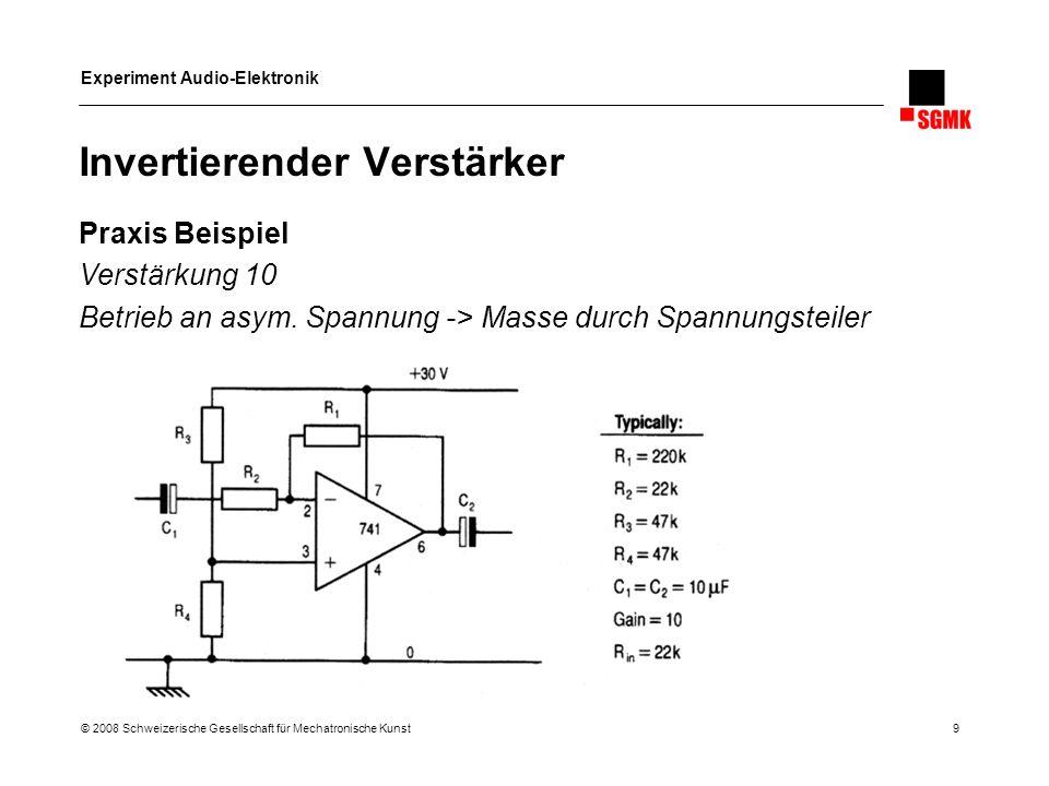 Experiment Audio-Elektronik © 2008 Schweizerische Gesellschaft für Mechatronische Kunst 9 Invertierender Verstärker Praxis Beispiel Verstärkung 10 Bet