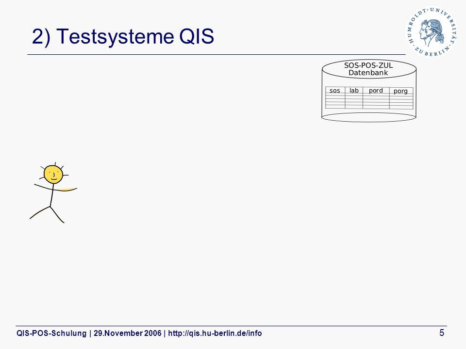 QIS-POS-Schulung | 29.November 2006 | http://qis.hu-berlin.de/info 5 2) Testsysteme QIS