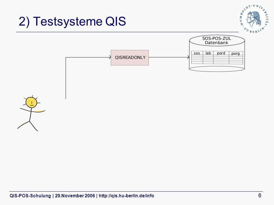 QIS-POS-Schulung | 29.November 2006 | http://qis.hu-berlin.de/info 6 2) Testsysteme QIS