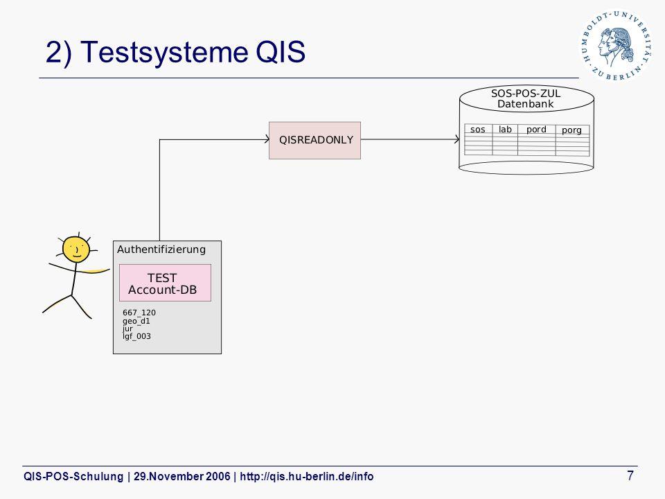 QIS-POS-Schulung | 29.November 2006 | http://qis.hu-berlin.de/info 7 2) Testsysteme QIS