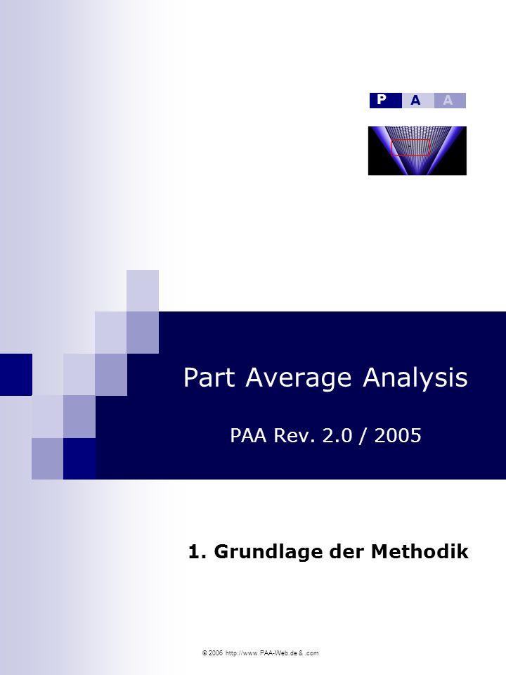 © 2006 http://www.PAA-Web.de &.com Part Average Analysis PAA Rev. 2.0 / 2005 1. Grundlage der Methodik P AA