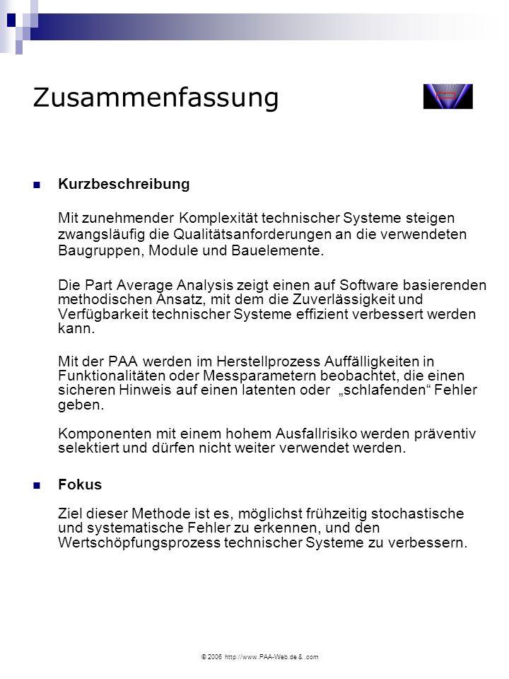 © 2006 http://www.PAA-Web.de &.com Zusammenfassung Kurzbeschreibung Mit zunehmender Komplexität technischer Systeme steigen zwangsläufig die Qualitätsanforderungen an die verwendeten Baugruppen, Module und Bauelemente.