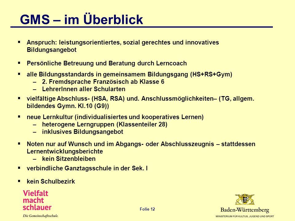 Folie 12 GMS – im Überblick Anspruch: leistungsorientiertes, sozial gerechtes und innovatives Bildungsangebot Persönliche Betreuung und Beratung durch