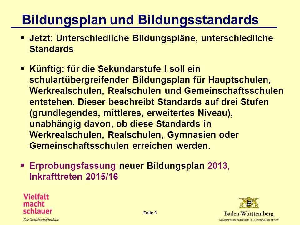 Folie 5 Bildungsplan und Bildungsstandards Jetzt: Unterschiedliche Bildungspläne, unterschiedliche Standards Künftig: für die Sekundarstufe I soll ein