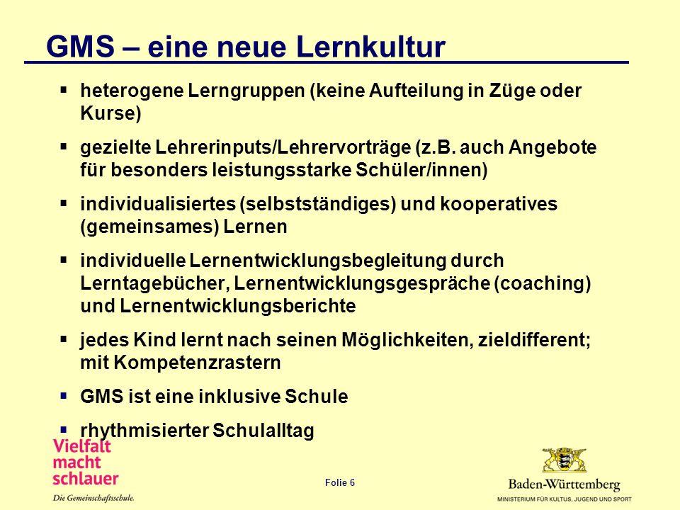 Folie 6 heterogene Lerngruppen (keine Aufteilung in Züge oder Kurse) gezielte Lehrerinputs/Lehrervorträge (z.B. auch Angebote für besonders leistungss