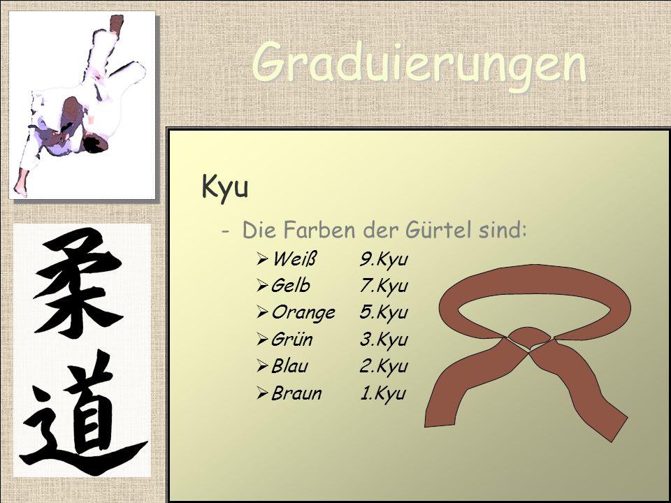 Graduierungen Kyu -Sind die Schülergrade -Gibt es vom 8. Kyu bis zu 1. Kyu