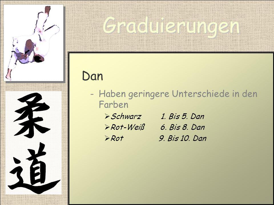 Graduierungen Dan -Die Meistergrade -Gehen vom 1. Dan bis zum 10. Dan