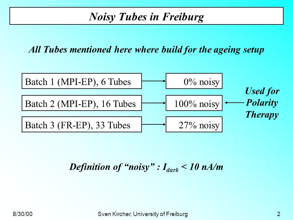 8/30/00Sven Kircher, University of Freiburg2 Noisy Tubes in Freiburg All Tubes mentioned here where build for the ageing setup Batch 2 (MPI-EP), 16 Tubes100% noisy 0% noisyBatch 1 (MPI-EP), 6 Tubes Batch 3 (FR-EP), 33 Tubes27% noisy Definition of noisy : I dark < 10 nA/m Used for Polarity Therapy