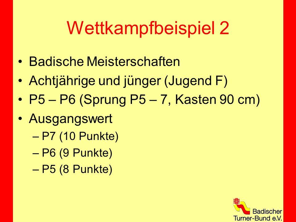 Wettkampfbeispiel 2 Badische Meisterschaften Achtjährige und jünger (Jugend F) P5 – P6 (Sprung P5 – 7, Kasten 90 cm) Ausgangswert –P7 (10 Punkte) –P6 (9 Punkte) –P5 (8 Punkte)