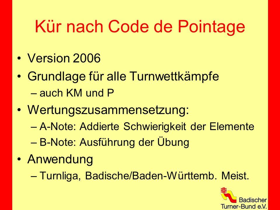 Kür nach Code de Pointage Version 2006 Grundlage für alle Turnwettkämpfe –auch KM und P Wertungszusammensetzung: –A-Note: Addierte Schwierigkeit der Elemente –B-Note: Ausführung der Übung Anwendung –Turnliga, Badische/Baden-Württemb.
