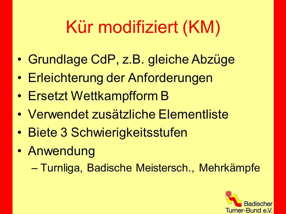 Beispiel KM2 Bodenübung Badische Turnliga A-Note 2,90 –Elemente 0,90 (1 B, 5 A, 2 NE) –Elementgruppen 2,00 B-Note 7,30 –Abzüge Kampfrichter 1: 2,6 Kampfr.