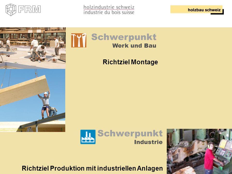 10 Schwerpunkt Werk und Bau Richtziel Montage Schwerpunkt Industrie Richtziel Produktion mit industriellen Anlagen