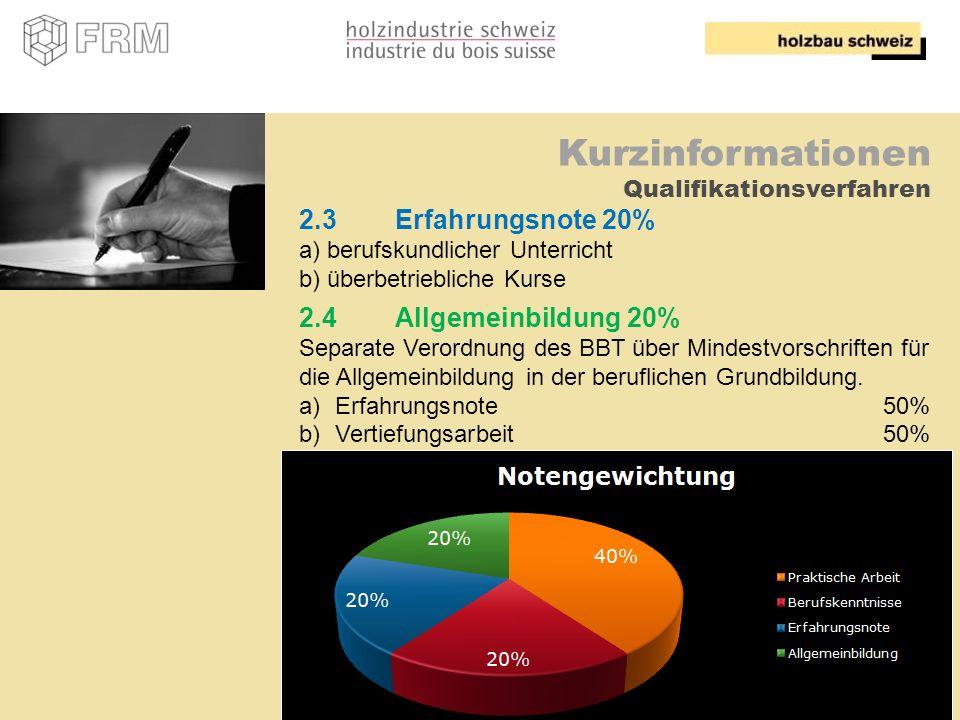 12 Kurzinformationen Qualifikationsverfahren 2.3Erfahrungsnote 20% a) berufskundlicher Unterricht b) überbetriebliche Kurse 2.4Allgemeinbildung 20% Se