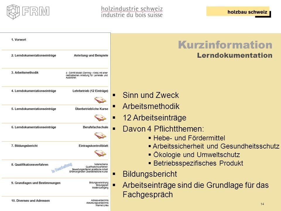 14 Kurzinformation Lerndokumentation Sinn und Zweck Arbeitsmethodik 12 Arbeitseinträge Davon 4 Pflichtthemen: Hebe- und Fördermittel Arbeitssicherheit