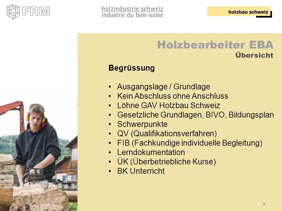2 Holzbearbeiter EBA Übersicht Begrüssung Ausgangslage / Grundlage Kein Abschluss ohne Anschluss Löhne GAV Holzbau Schweiz Gesetzliche Grundlagen, BIV