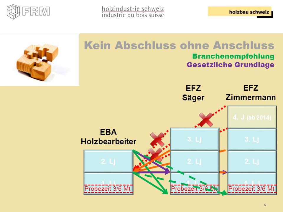 5 Kein Abschluss ohne Anschluss Branchenempfehlung Gesetzliche Grundlage 1. LJ 2. Lj 3. Lj 4. J (ab 2014) 1. Lj 2. Lj EFZ Zimmermann EBA Holzbearbeite