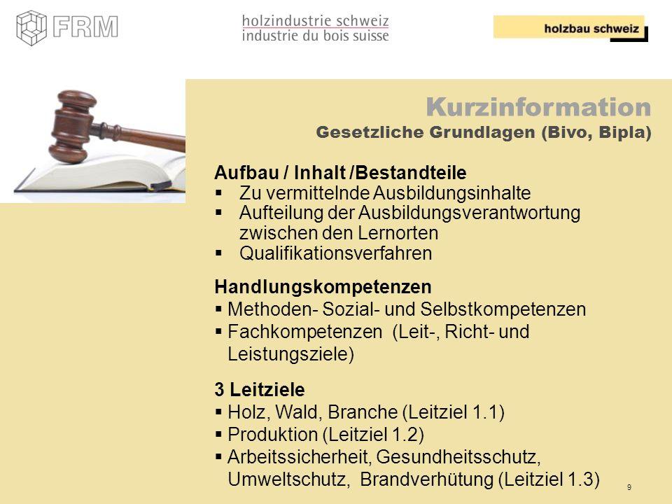 9 Kurzinformation Gesetzliche Grundlagen (Bivo, Bipla) Aufbau / Inhalt /Bestandteile Zu vermittelnde Ausbildungsinhalte Aufteilung der Ausbildungsvera