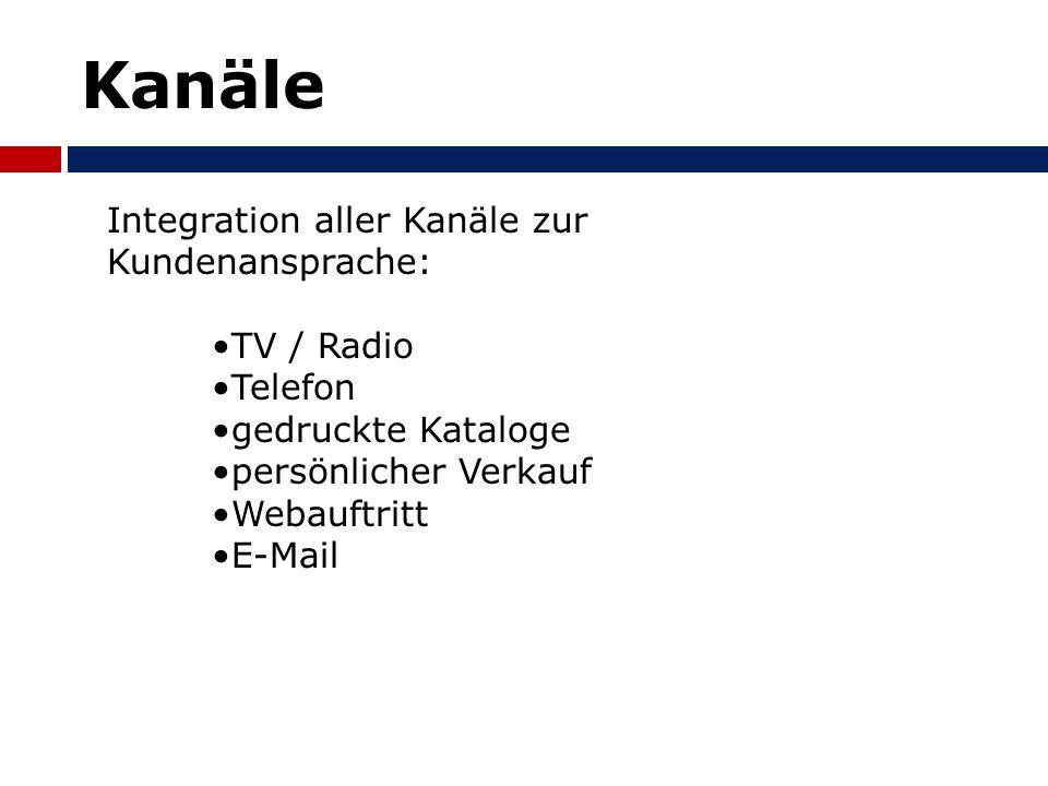Kanäle Integration aller Kanäle zur Kundenansprache: TV / Radio Telefon gedruckte Kataloge persönlicher Verkauf Webauftritt E-Mail