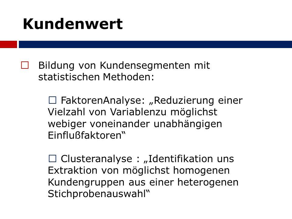Kundenwert Bildung von Kundensegmenten mit statistischen Methoden:  FaktorenAnalyse: Reduzierung einer Vielzahl von Variablenzu möglichst webiger vo