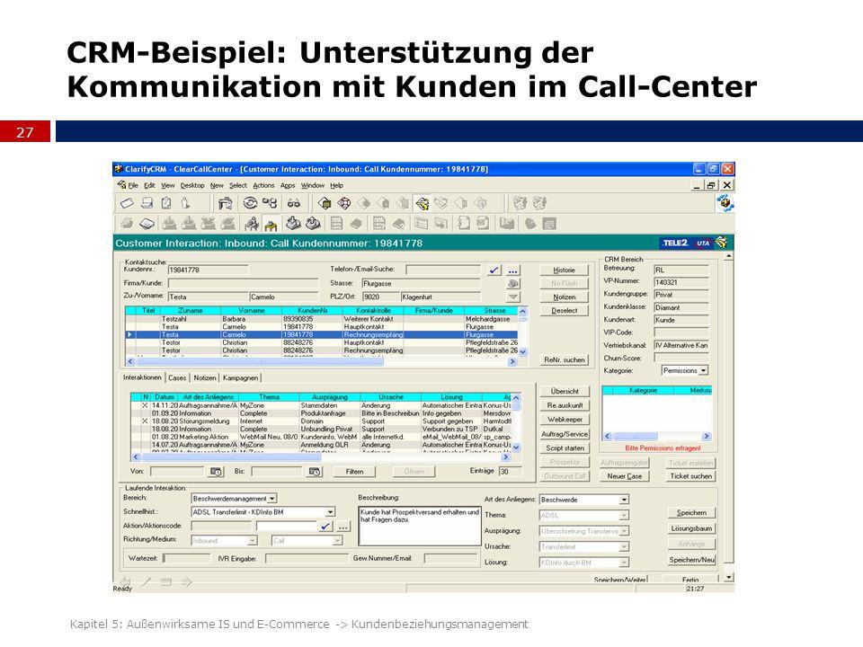 CRM-Beispiel: Unterstützung der Kommunikation mit Kunden im Call-Center 27 Kapitel 5: Außenwirksame IS und E-Commerce -> Kundenbeziehungsmanagement