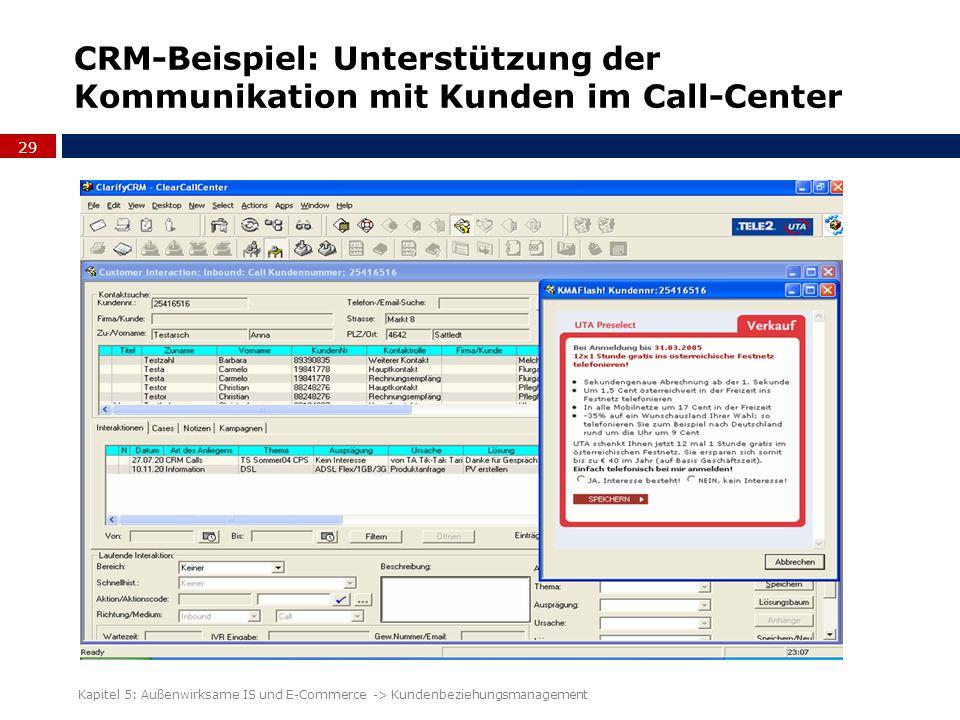 CRM-Beispiel: Unterstützung der Kommunikation mit Kunden im Call-Center 29 Kapitel 5: Außenwirksame IS und E-Commerce -> Kundenbeziehungsmanagement