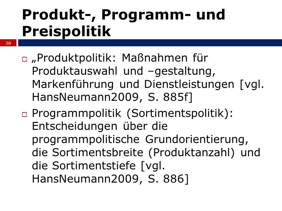 Produktpolitik: Maßnahmen für Produktauswahl und –gestaltung, Markenführung und Dienstleistungen [vgl. HansNeumann2009, S. 885f] Programmpolitik (Sort