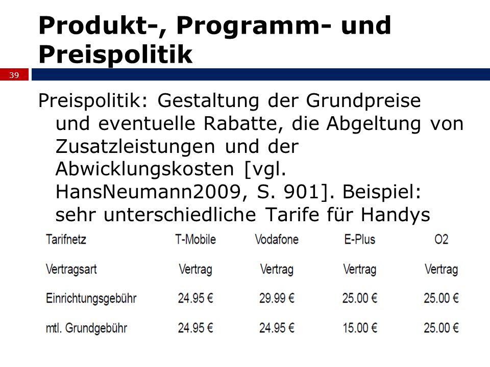 Produkt-, Programm- und Preispolitik Preispolitik: Gestaltung der Grundpreise und eventuelle Rabatte, die Abgeltung von Zusatzleistungen und der Abwic