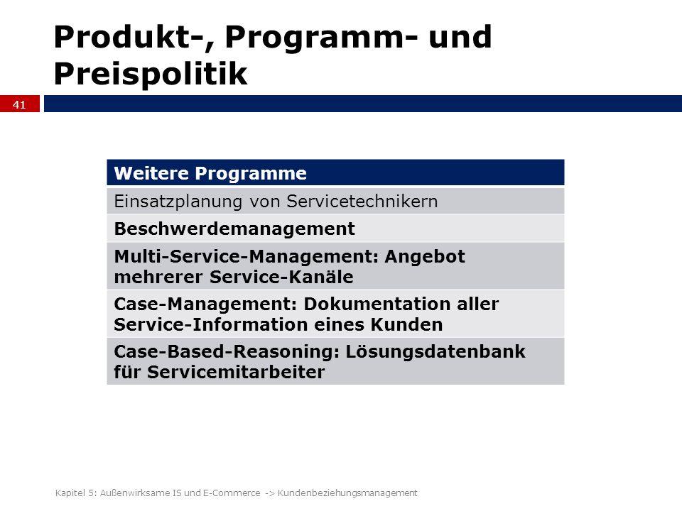 Produkt-, Programm- und Preispolitik 41 Kapitel 5: Außenwirksame IS und E-Commerce -> Kundenbeziehungsmanagement Weitere Programme Einsatzplanung von