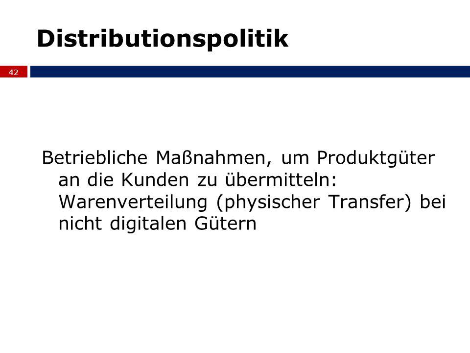 Distributionspolitik Betriebliche Maßnahmen, um Produktgüter an die Kunden zu übermitteln: Warenverteilung (physischer Transfer) bei nicht digitalen G