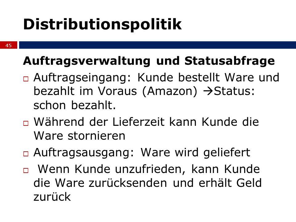 Distributionspolitik Auftragsverwaltung und Statusabfrage Auftragseingang: Kunde bestellt Ware und bezahlt im Voraus (Amazon) Status: schon bezahlt. W