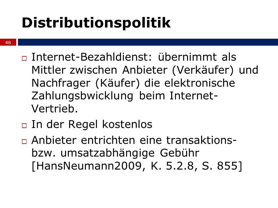 Distributionspolitik Internet-Bezahldienst: übernimmt als Mittler zwischen Anbieter (Verkäufer) und Nachfrager (Käufer) die elektronische Zahlungsbwic