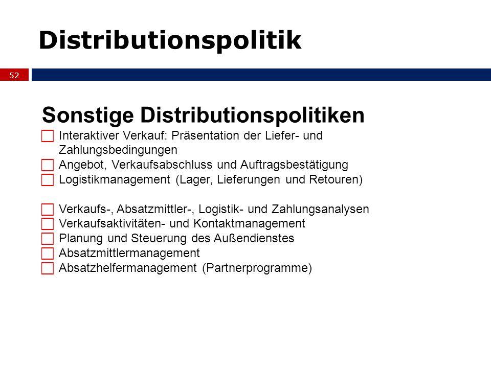 52 Sonstige Distributionspolitiken Interaktiver Verkauf: Präsentation der Liefer- und Zahlungsbedingungen Angebot, Verkaufsabschluss und Auftragsbestä