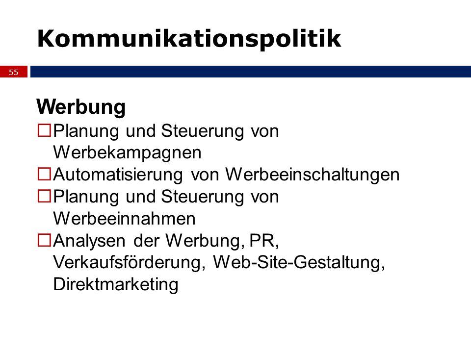 55 Werbung Planung und Steuerung von Werbekampagnen Automatisierung von Werbeeinschaltungen Planung und Steuerung von Werbeeinnahmen Analysen der Werb