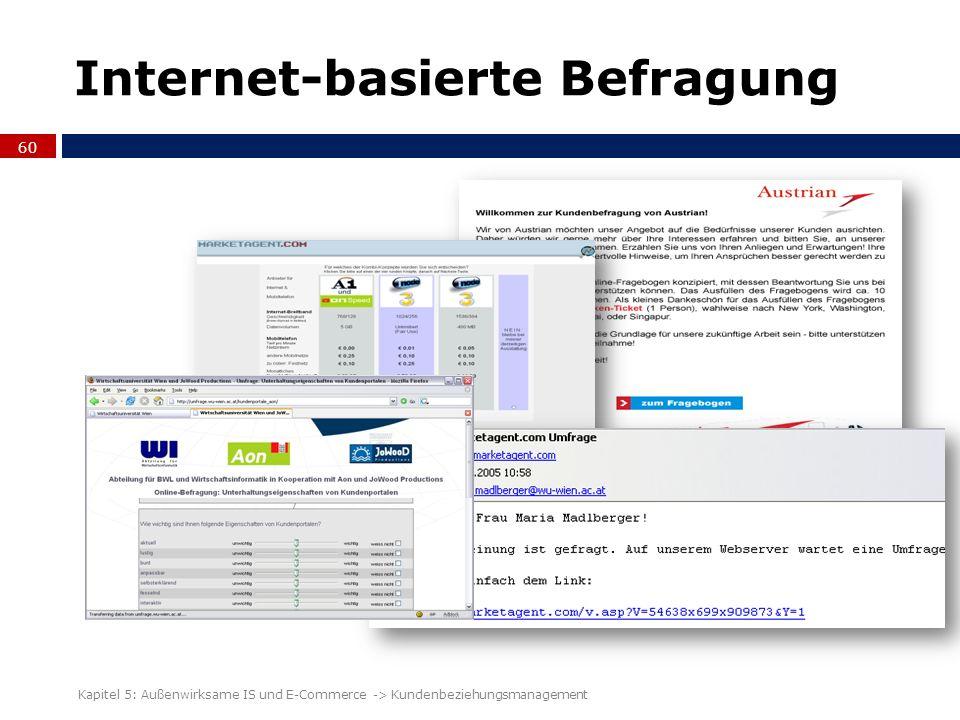 Internet-basierte Befragung 60 Kapitel 5: Außenwirksame IS und E-Commerce -> Kundenbeziehungsmanagement