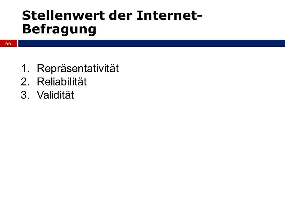 66 1.Repräsentativität 2.Reliabilität 3.Validität Stellenwert der Internet- Befragung