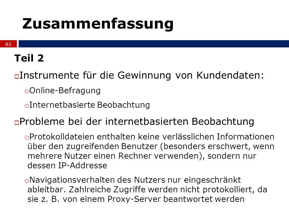 Zusammenfassung Teil 2 Instrumente für die Gewinnung von Kundendaten: o Online-Befragung o Internetbasierte Beobachtung Probleme bei der internetbasie